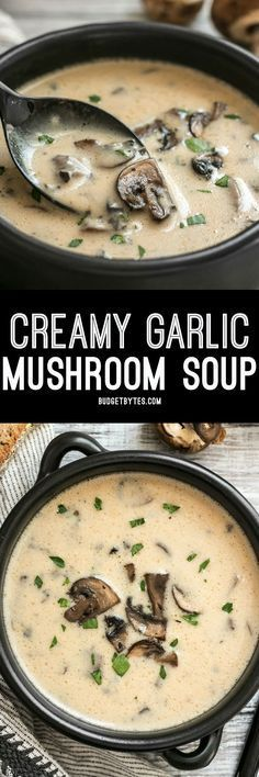 This rich and Creamy Garlic Mushroom Soup is perfect for fall with it's deep earthy flavors. Serve with crusty bread for dipping!