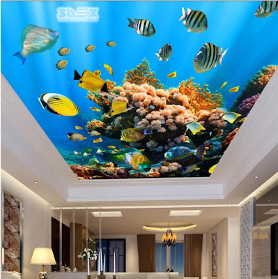 gypsum false ceiling with 3D ceiling-mural
