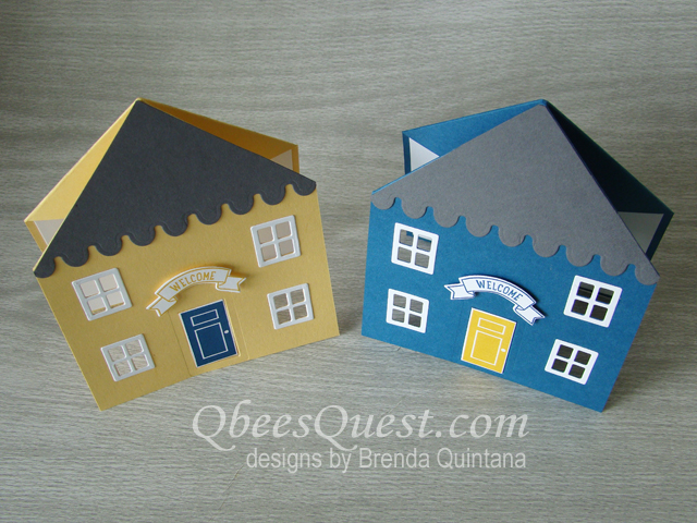 Qbees Quest House Shaped Fancy Fold Card