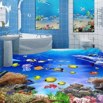 undersea 3d floor designs for bathroom