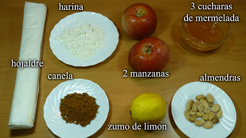 Rosas de manzana. Ingredientes