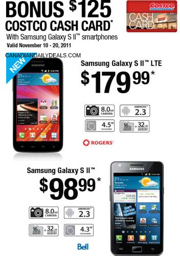 Canadian Daily Deals: Costco: Bonus $125 Cash Card With ... on Costco Phone Deals id=51918