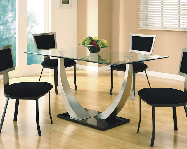 an inspiring arched metal dining room table legs with some elegant chairs along with some fruits on top of glass table