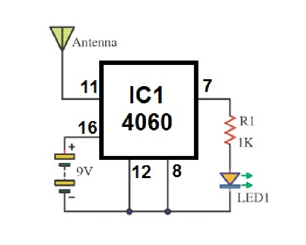 Non contact voltage detector circuit