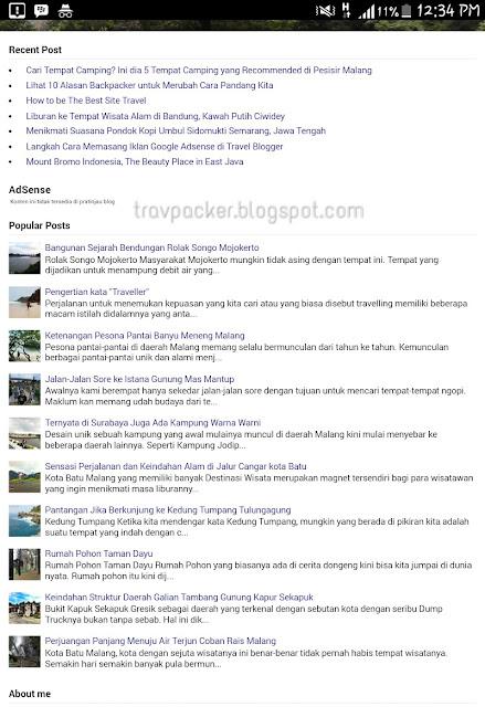 Cara Membuat Postingan Terbaru (Recent Post) di Travel Blog