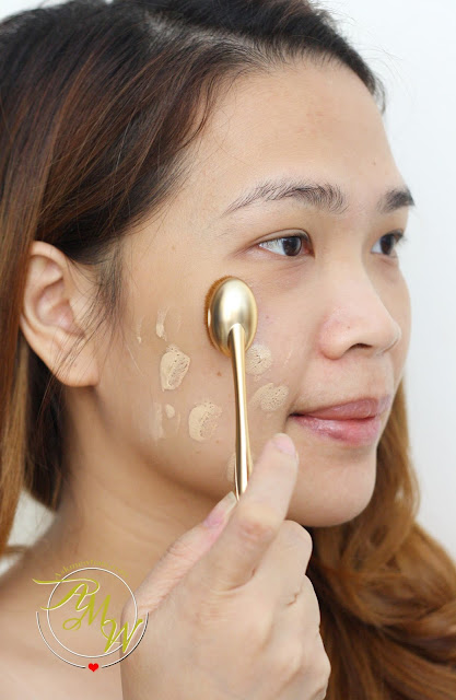 a photo of Kate Tokyo Mineral Mask BB Cream application using Etude House oval brush
