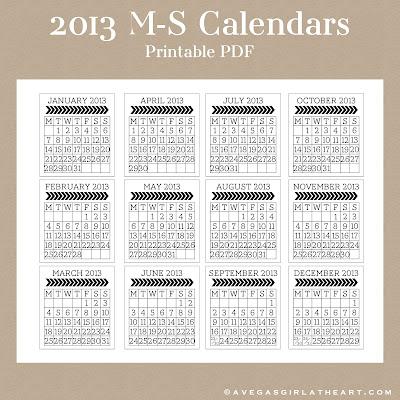 A Vegas Girl at Heart Freebie Week 2013 M-S Calendar Printable