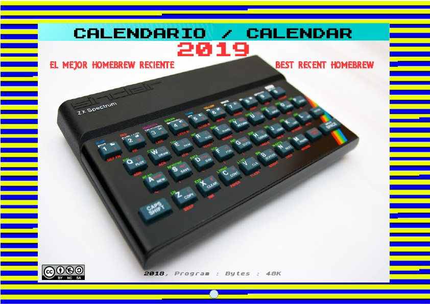 Program Bytes 48k: Calendario 2019 con el mejor homebrew del ZX Spectrum