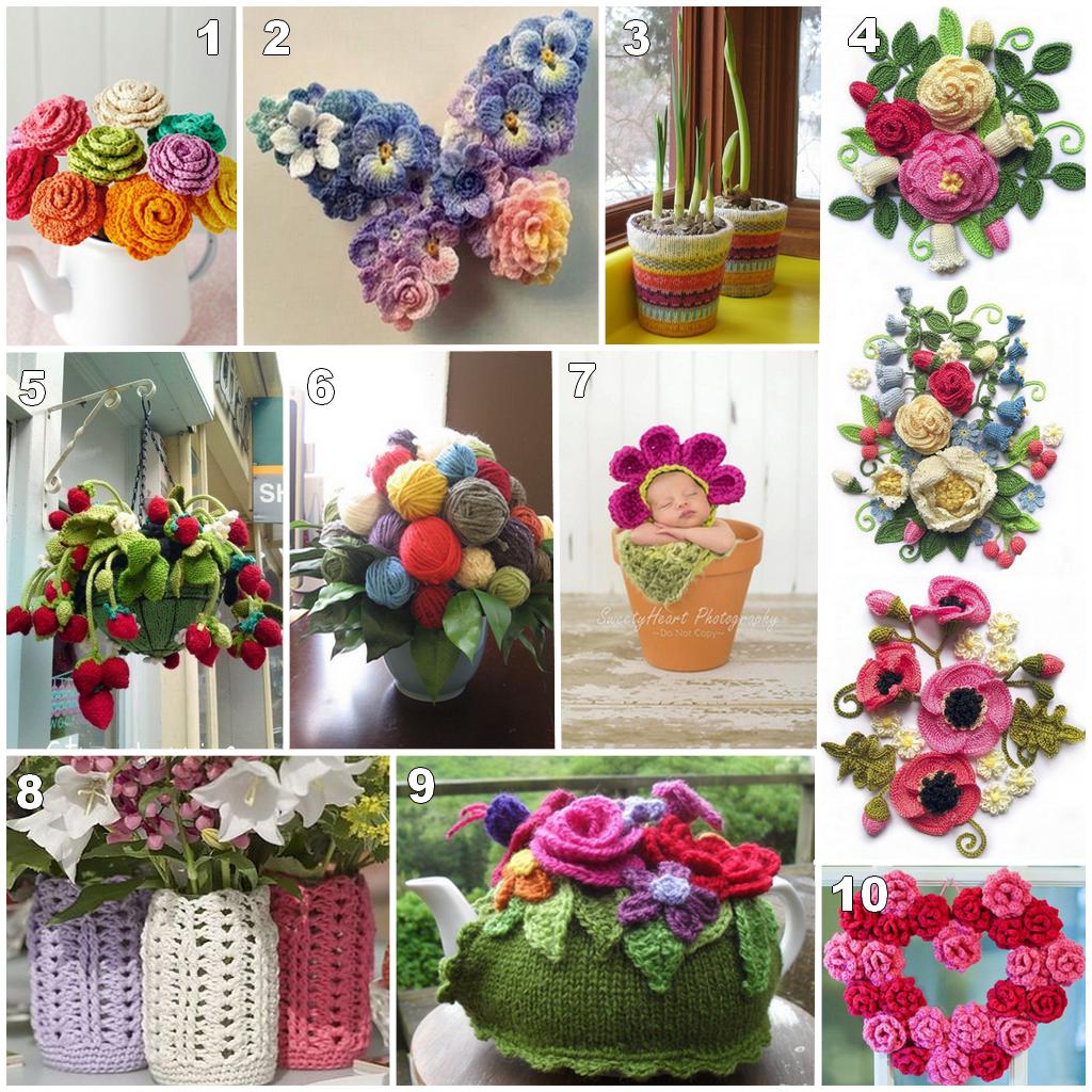 flores crochet y punto