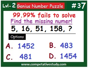 Number Puzzle: Find the missing number: 5, 16, 51, 158, ?
