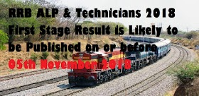 RRB ALP & Technicians 2018 Result To Be Declared On 05th November 2018