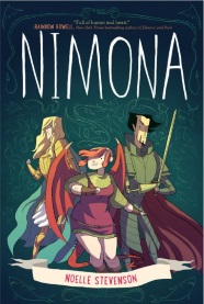 Cover of Nimona, featuring a white girl with dragon wings flanked by a blonde white dude in golden armour and a dark-haired Asian dude with a cybernetic arm.