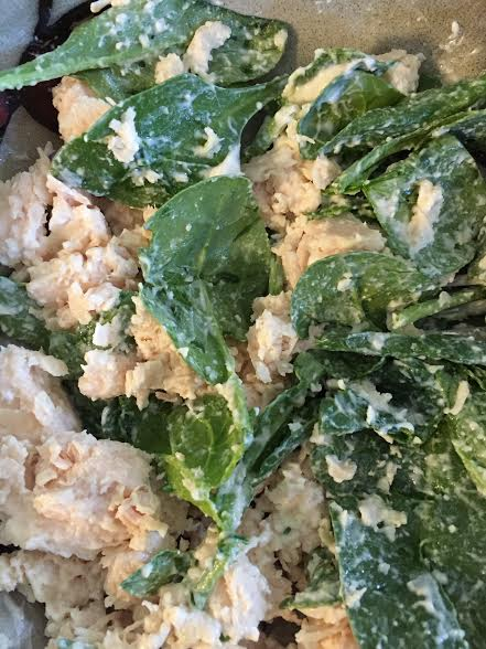 Spinach and chicken salad made with Wild Planet Chicken