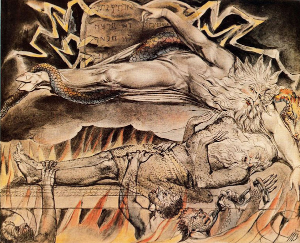 Job's Evil Dreams by William Blake, Macabre Paintings, Horror Paintings, Freak Art, Freak Paintings, Horror Picture, Terror Pictures