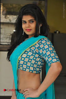 Telugu Actress Alekhya Stills in Green Saree at Swachh Hyderabad Cricket Press Meet  0027.JPG