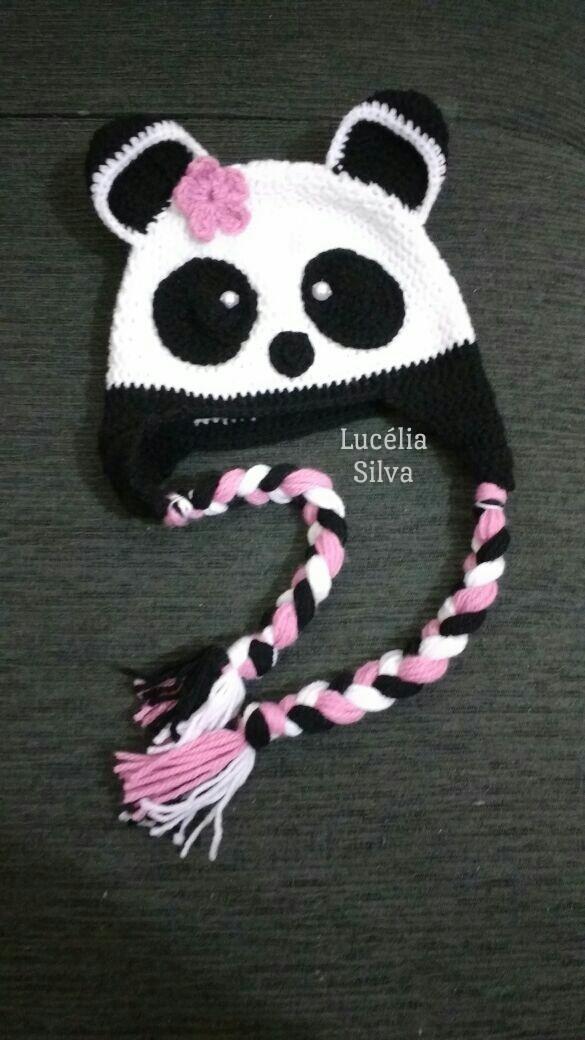 Lucélia Silva ♥ Artes♥  Touca em crochê Panda e158f7a1560