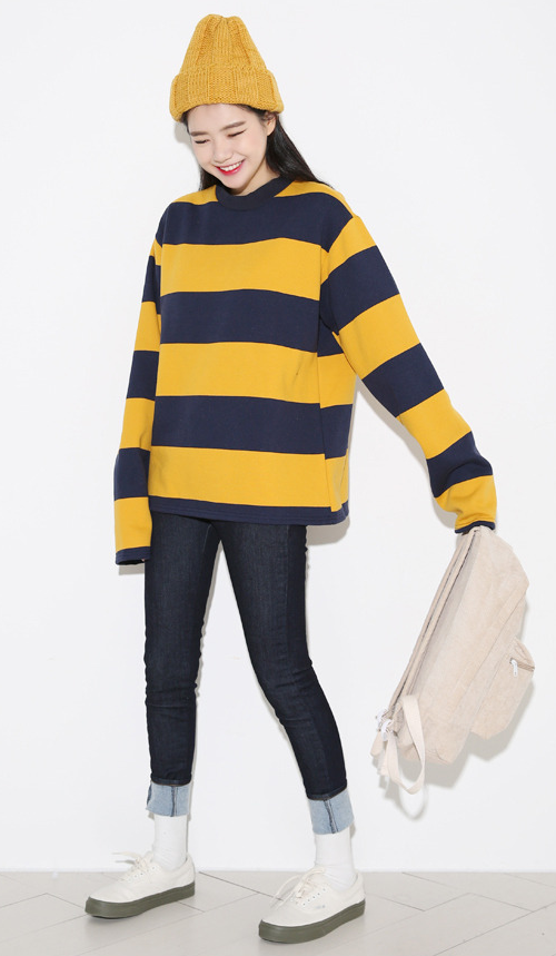 Bold Stripe Extended Sleeve T-Shirt