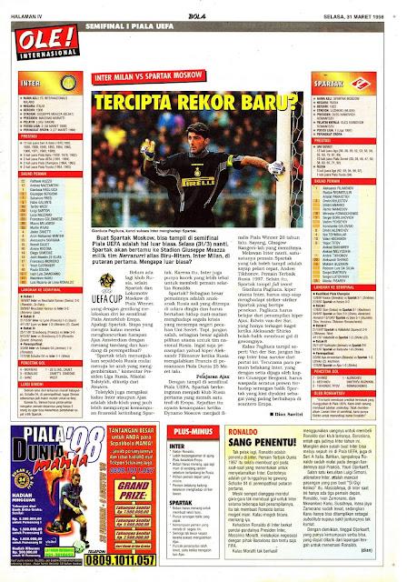 UEFA CUP SEMIFINAL 1998 INTER MILAN VS SPARTAK MOSKOW