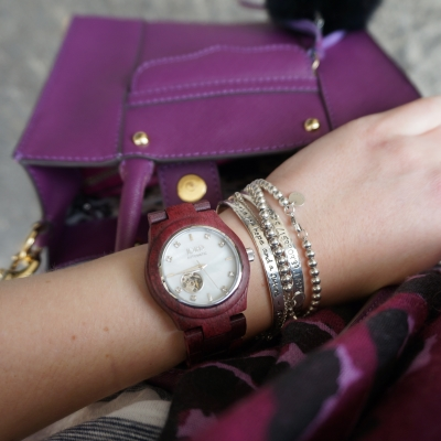 Bracelet Stack: Cora purpleheart and mother of pearl watch plum purple mini MAB tote bag Rebecca Minkoff | AwayFromTheBlue