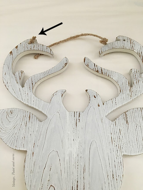 Vintage, Paint and more... a wood silhouette deer head used to make a DiY Farmhouse Christmas Wreath