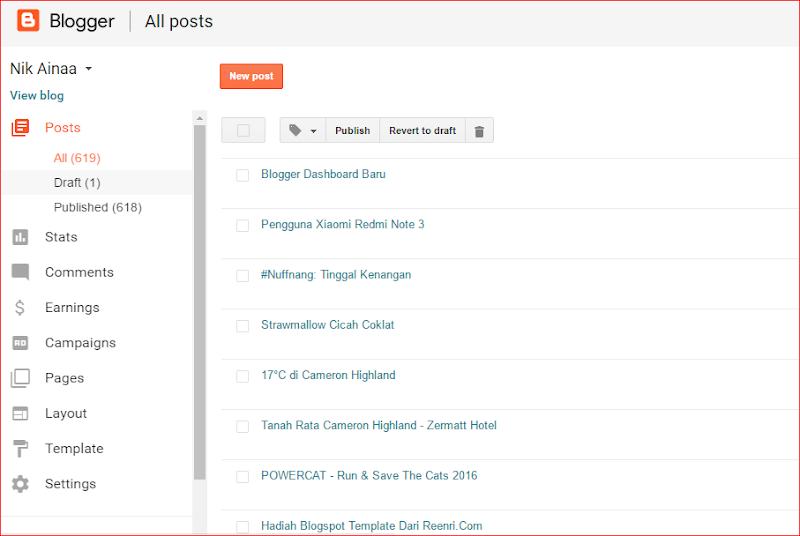 Blogger Dashboard Baru
