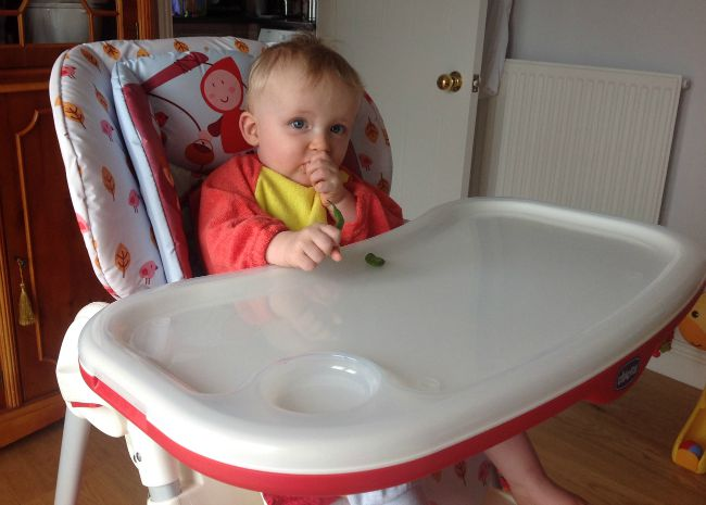 baby sat in Chicco Polly Happy Land high chair eating