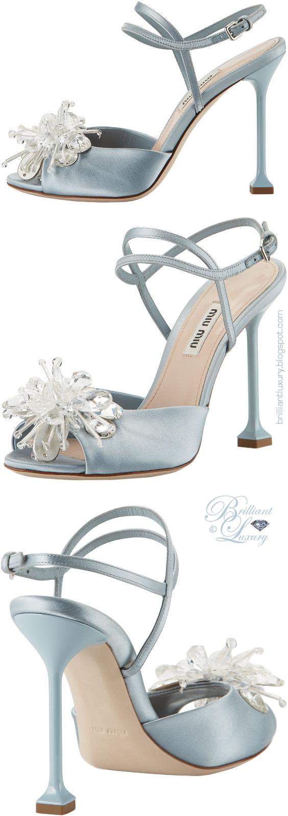Brilliant Luxury ♦ Miu Miu blue crystal-embellished sandals