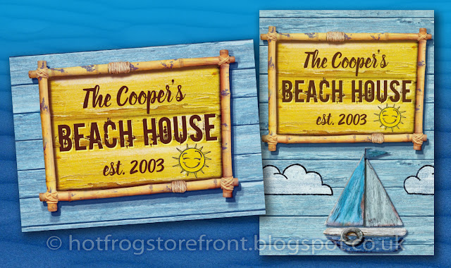 Photograph of posters in Driftwood Beach design