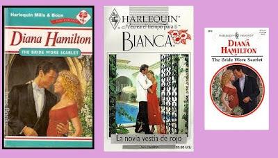 portadas de la novela romántica contemporánea La novia vestía de rojo, de Diana Hamilton