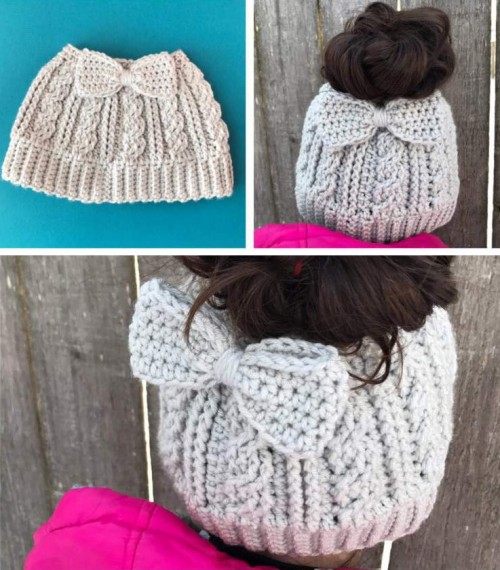 Cabled Messy Bun Bow Hat - Free Pattern