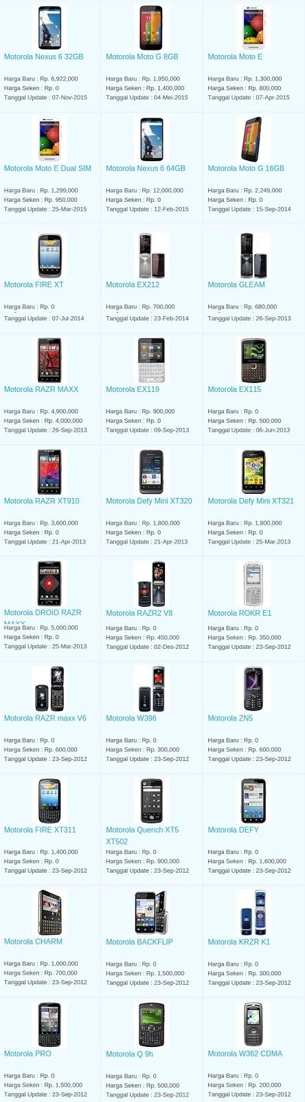 Daftar Harga Terbaru Hp Motorola April 2016