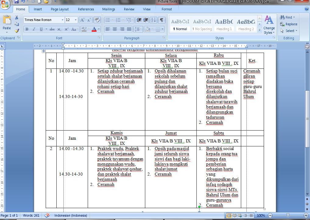Contoh Program Kerja Ekstrakulikuler Keagamaan Mata Pelajaran Fiqih Tahun 2016-2017 Format Microsoft Word