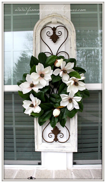 Farmhouse Front Porch-Early Spring Porch decor-Magnolia Wreath-Southern Porch-From My Front Porch To Yours