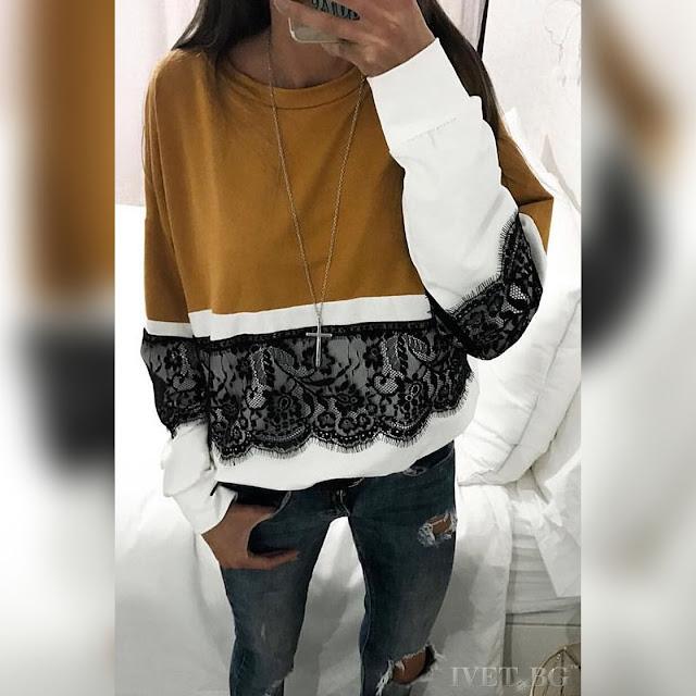 Γυναικεία μακρυμάνικη μπλούζα KALA MUSTARD