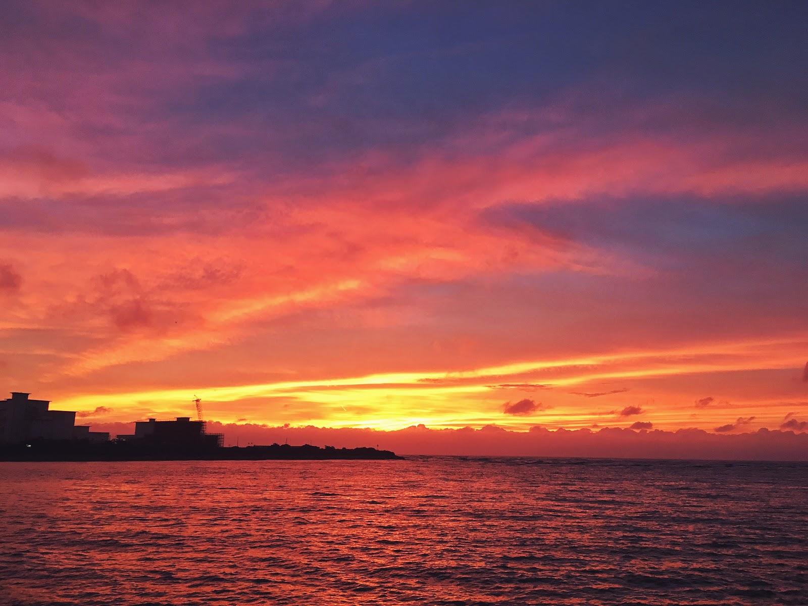 okinawa, ginowan, east china sea, sunset, sky, araha beach, japan, ocean