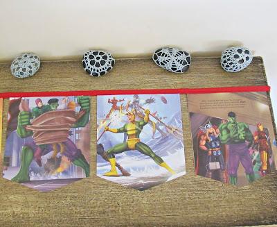 image the mighty avengers bunting domum vindemia etsy handmade captain america the hulk iron man loki marvel upcycled superhero banner garland