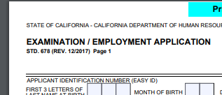 Imae of State of California Job Application (STD 678) top left corner