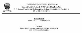 Informasi Lowongan Kerja Non PNS RSUD Kabupaten Sumedang