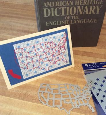 U.S. die cut Sizzix America card recycled book page Stefanie Girard Judikins field of stars stencil