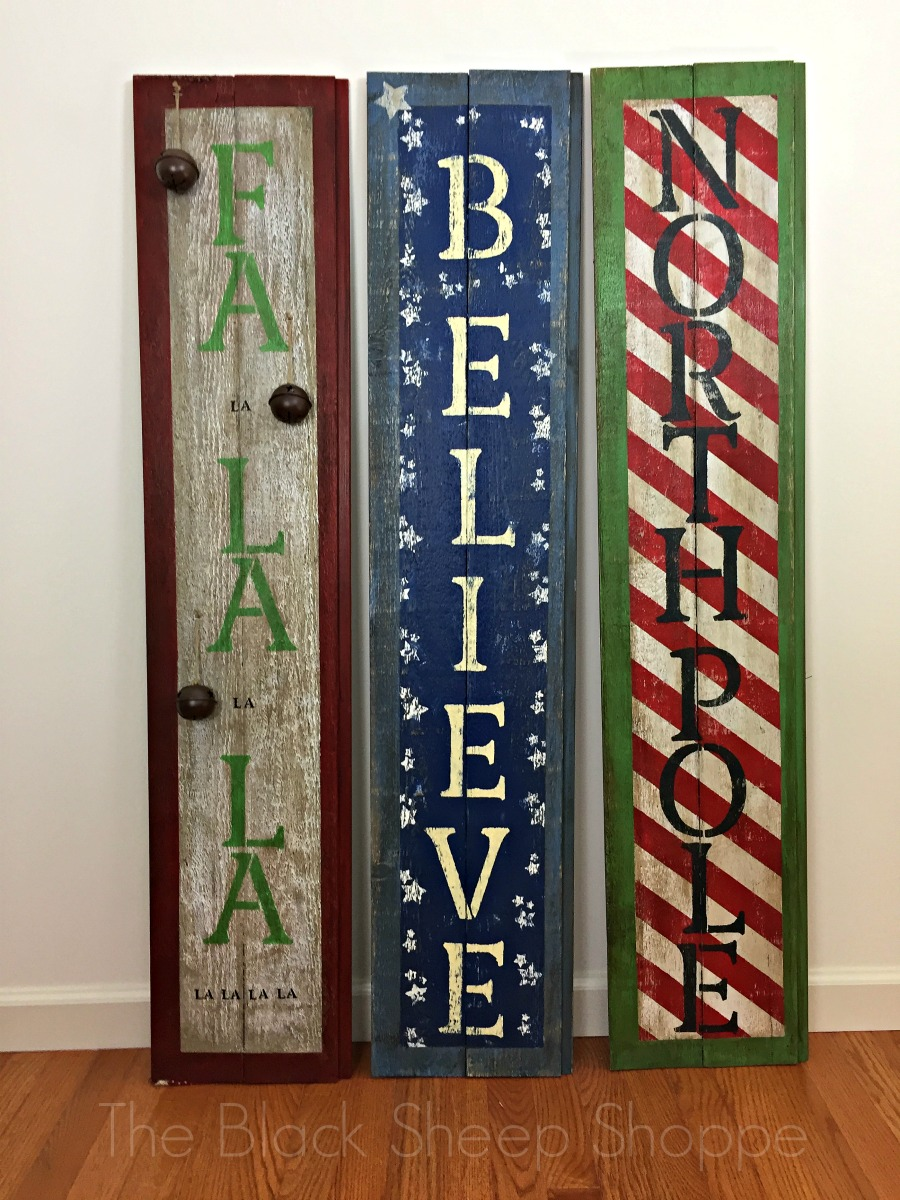 Designer holiday barn wood signs