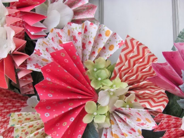 Colorful Spring Wreath Using Pretty Papers