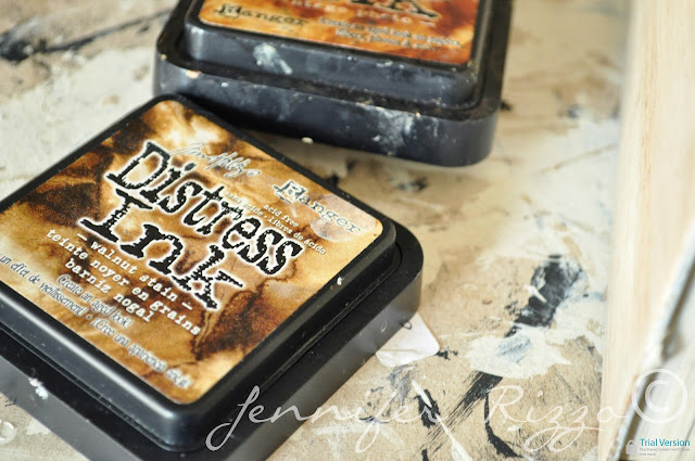 Use distress ink to age old books