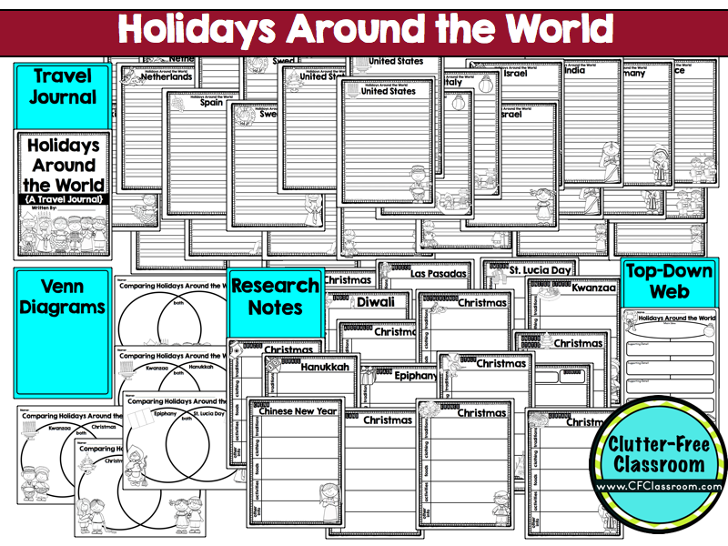 Holidays Around the World Made Easy ClutterFree Classroom – Christmas Around the World Worksheets