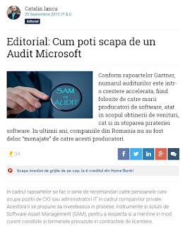 Catalin Iancu SAM, Catalin Iancu, Audit, SAM Microsoft