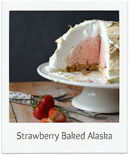 A Baked Alaska is perfect when you want to have some baking excitement in the kitchen!  A dome of ice cream sits on a sponge cake which is encased in a layer of marshmallow-y meringue before being baked in the oven!  It's the ultimate warm frozen dessert and is sure to wow your guests!   In this instance strawberry ice cream and sponge is used.