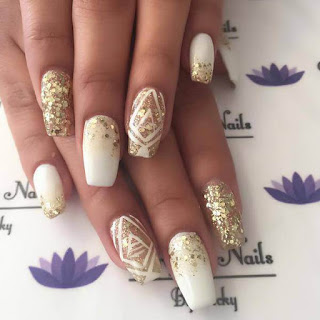 White and Gold, floral ,reindeer nail design