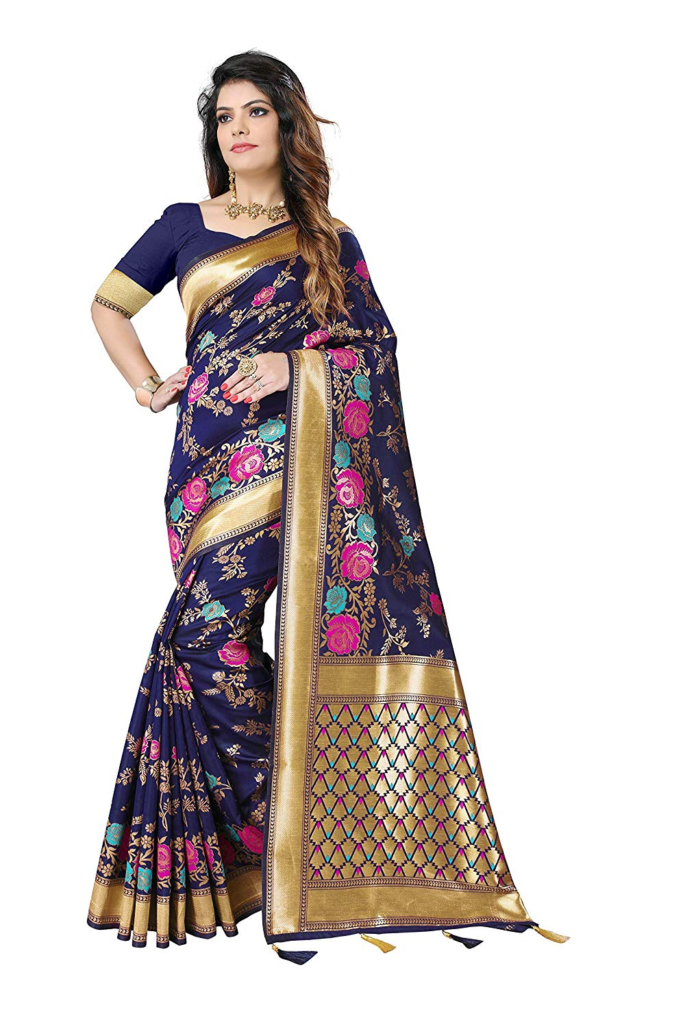 Silky Sarees Women's Banarasi Silk Saree with Blouse Piece