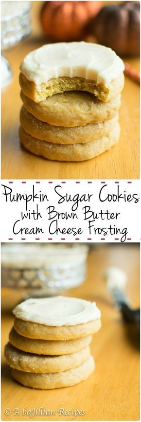 Pumpkin Sugar Cookies With Brown Butter Cream Cheese Frosting