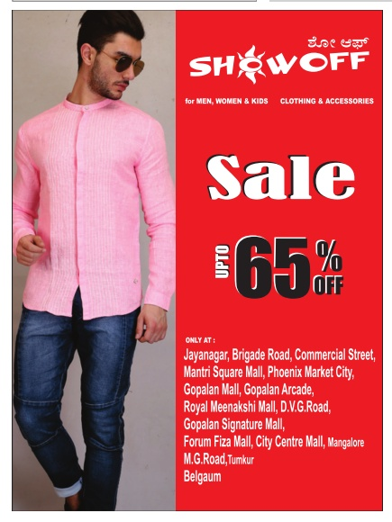 Showoff sale up to 65% off | April 2016 discount offers