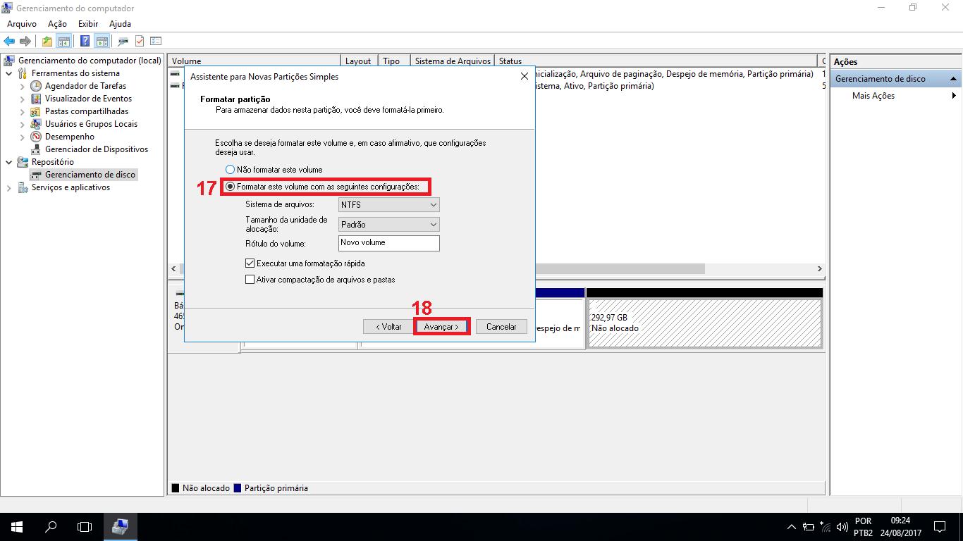 """17 - Selecione a opção """"Formatar este volume com as seguintes configurações"""", e deixe o padrão igual ao da imagem. 18 - Clique no botão avançar."""